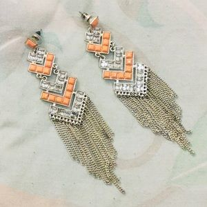 Silver Tone and Peach Chain Fringe Earrings
